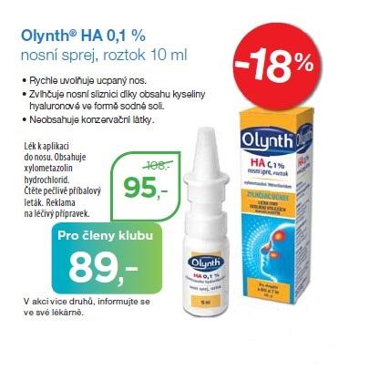 Olynth 0,1 % HA je lék pro léčbu rýmy